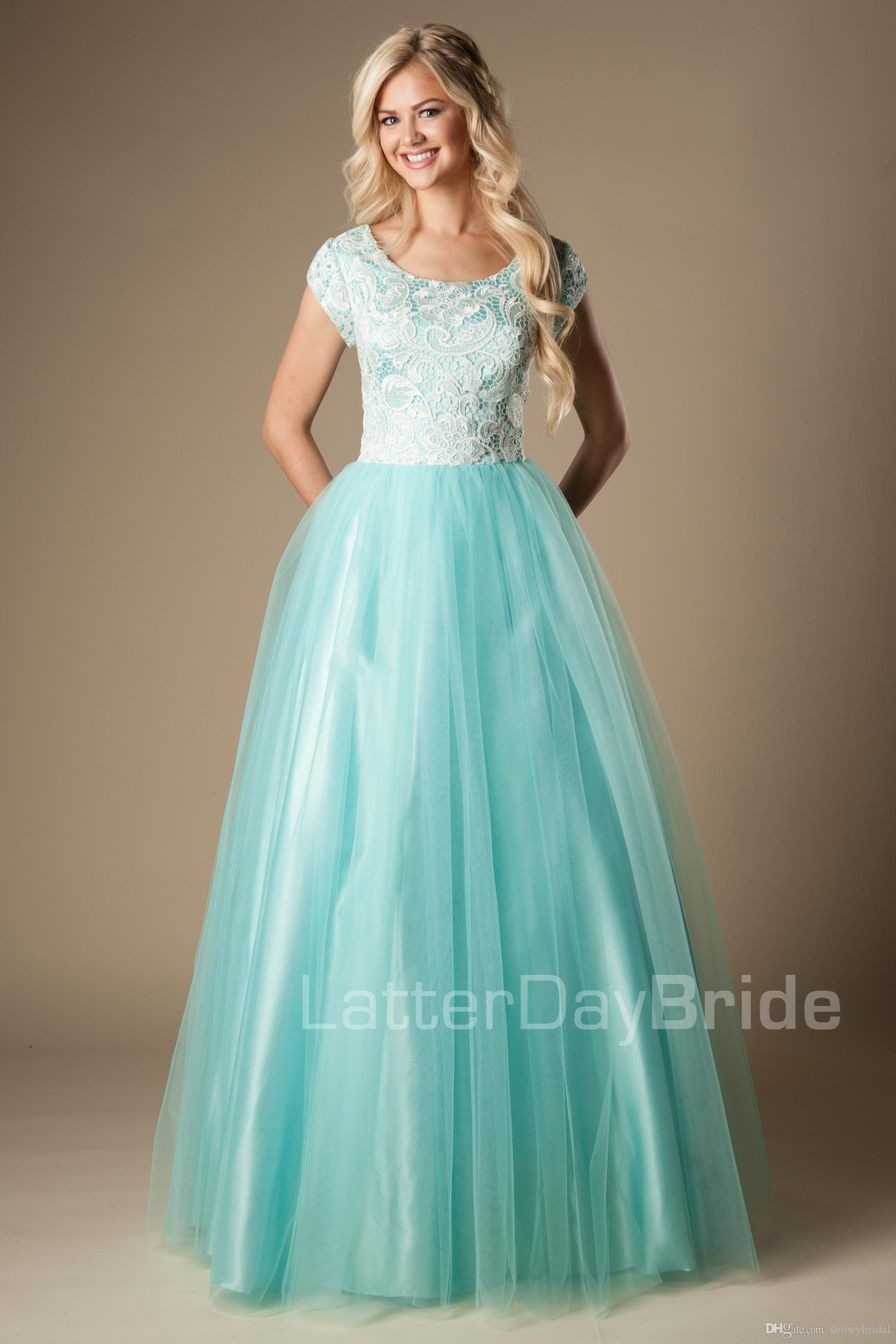 Mint Lace Tulle Modest Prom Dresses With Short Sleeves A Line Long ...