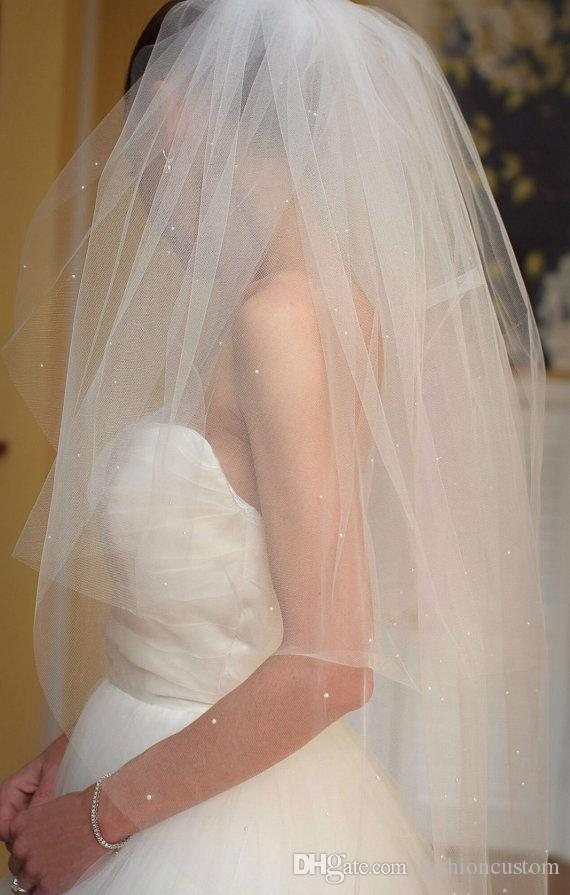 Due strati Velo da sposa Bianco Avorio champagne Velo da sposa a due strati Punta delle dita Lunghezza con pettine Perle 192a