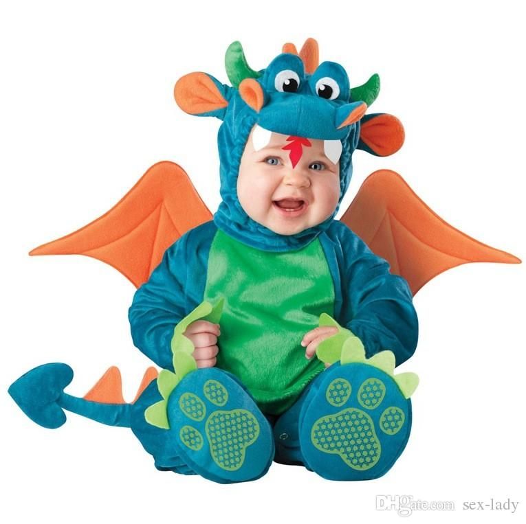 Nueva Llegada de Alta Calidad Bebé Niños Niñas Traje de Dinosaurio de Halloween Romper Niños Ropa Set Toddler Co-splay Triceratops