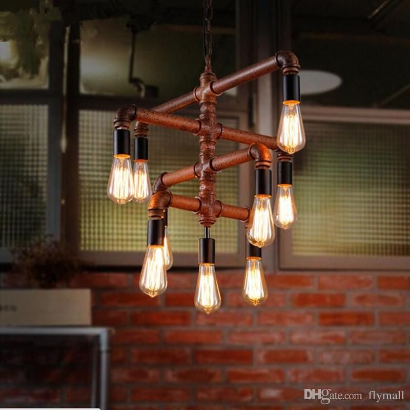 industrial bar lighting. Loft Vintage Edison Pendant Lights Personalized Bar Lighting Industrial  Water Pipe Lamp E27 Bulb Iron Rust Lamps 9 Heads Industrial Bar Lighting S