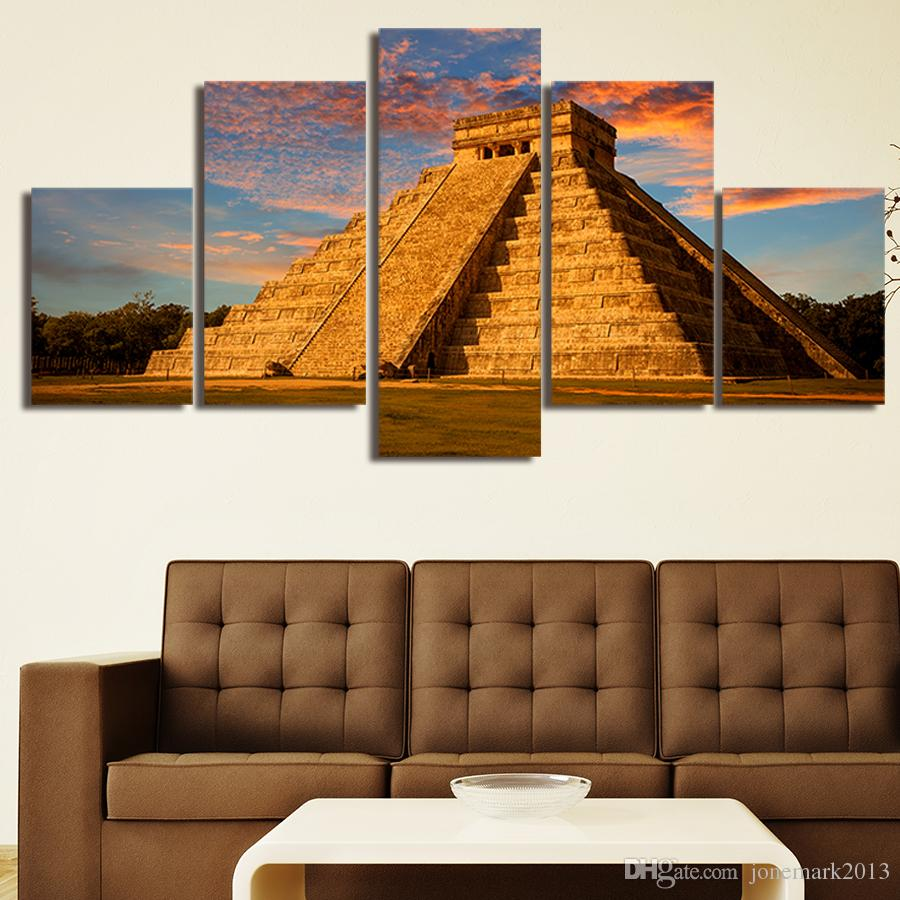 5 Teile / satz Gerahmte HD Gedruckt Mexikanischen Pyramide Landschaft Bild Wandkunst Leinwanddruck Decor Poster Leinwand Moderne Ölgemälde