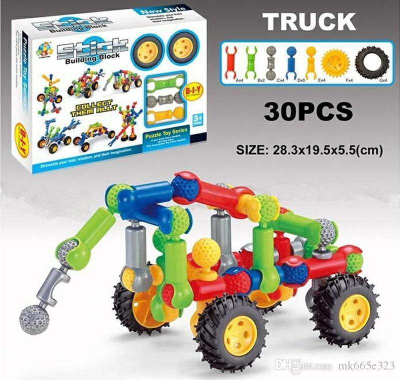 Farm Toddler Toys Age Two : Stick building block sets car assembly disentanglement