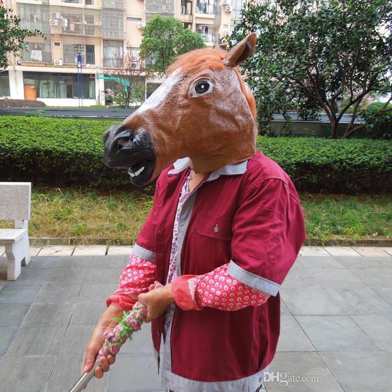 Creepy Horse Mask Testa di Halloween Costume Teatro Prop Novità in lattice di gomma Natale New Years Testa di cavallo maschera animale Costume giocattoli Party