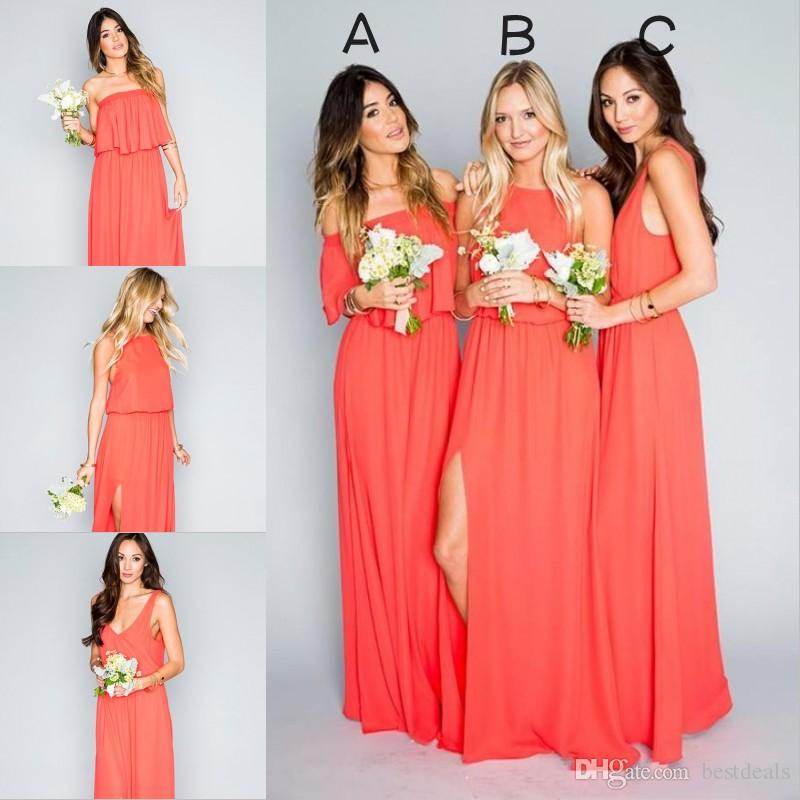 2018 Cheap Elegant Coral Bridesmaid Dresses Chiffon Floor Length
