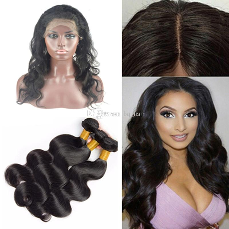Pre Plucked Silk Base 360 Lace Frontal With Bundles Body Wave ... ac3a6d2ad8