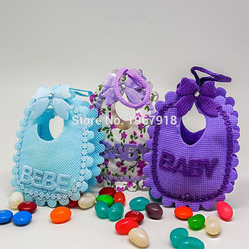 Wholesale Adorable Baby Bibs Candy Bags Shower Decoration Favor Gift Birthday Baptism Party Supply Return For Boy Girl Wrapping Ribbon