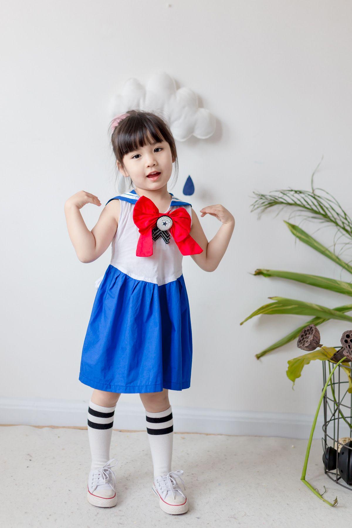 Stile coreano 2017 nuovo arrivo ragazza estate Navy vento college vento banda cuciture vestito di alta qualità in cotone bowknot vestito trasporto libero