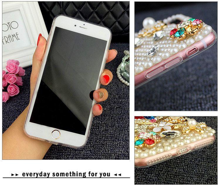 Luxus Rhinestone-Liebes-Herz-Perlen-Mobiltelefon-Kasten für iPhone6 6 Plus iPhone7 7Plus PU + Silikon 2in1 Fall