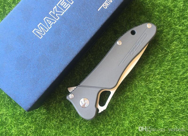 Maker 3 design Cuscinetto a sfere Flipper pieghevole in ceramica originale S35vn 100% Coltello Titanio TC4 Titanium manico da tasca