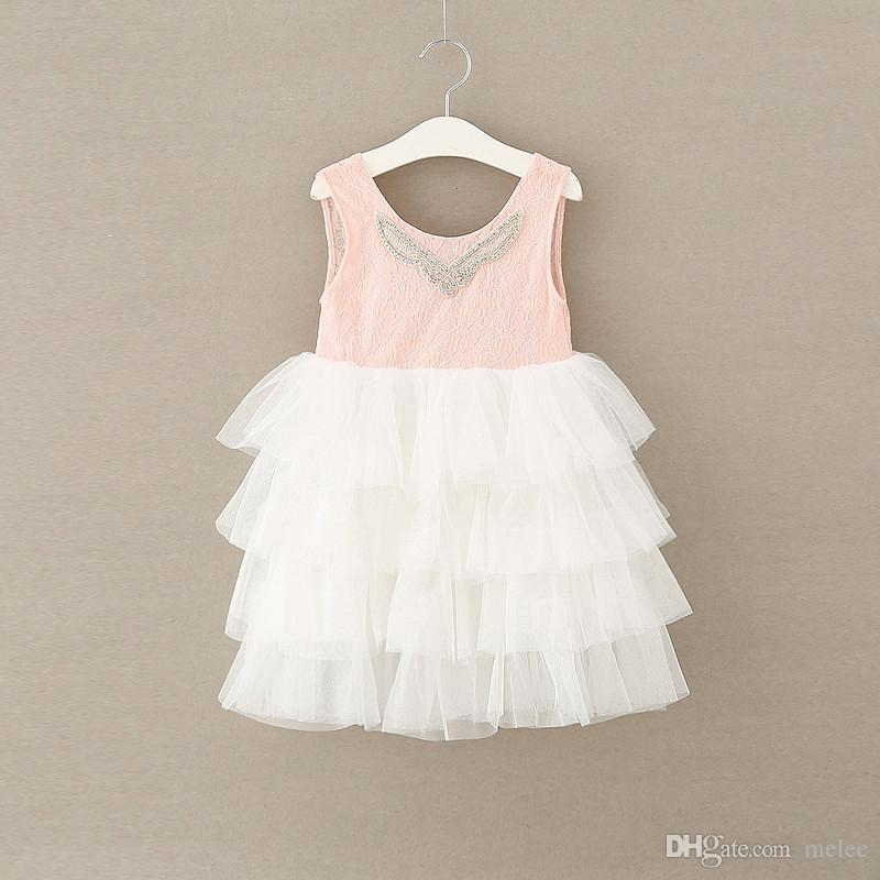 INS Girls Tulle full Lace party Cake Dresses Kids Girls Princess tutu Party Dress Girl Summer Diamond Neck Dress Children Christmas Dress