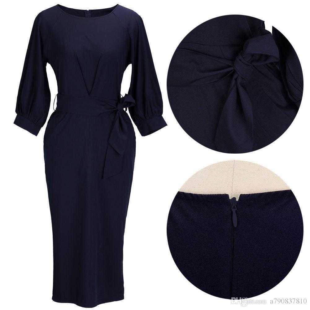 2017 Hot Dark Navy femmes Robes de soirée demi-manches longueur au genou Vêtements femmes Vêtements de travail Casual New ceinture de distribution design Robe NYC199