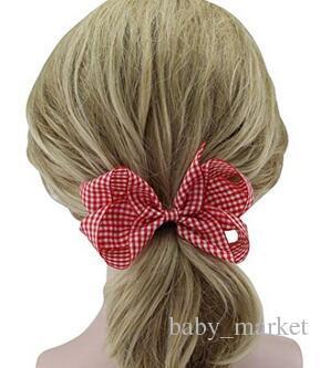 利用可能な4つのスタイル!赤ちゃんの女の子の市松模様の髪の弓3.5