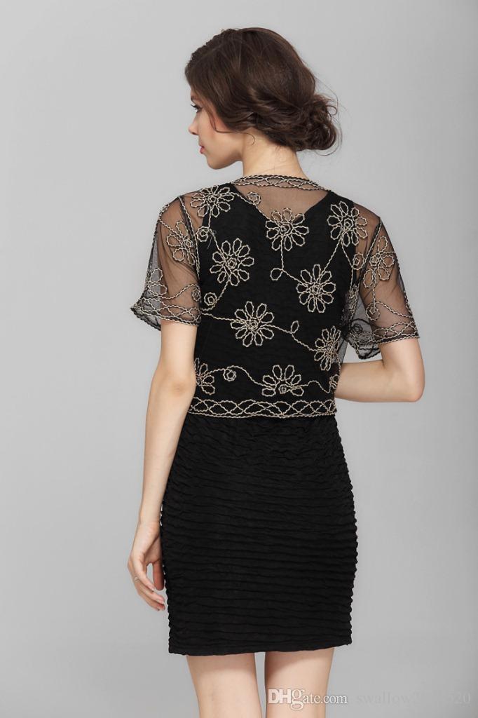 2017 New Black White Beige Fashion Women Female Elegant Cardigan Shrugs Tops Blouse Front Tie Lace Bolero Short Sleeve Embroided