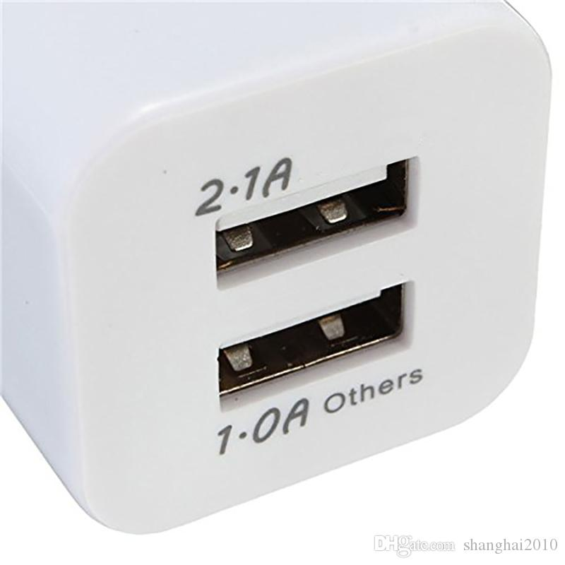 Nokoko de calidad superior 5V 2.1 + 1A Doble USB AC Viajes EE.UU. Cargador de pared Enchufe Cargador doble para Samsung Galaxy HTC Adaptador de teléfono inteligente 200 unids