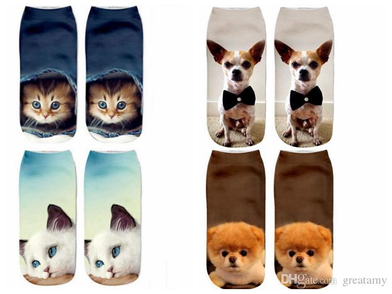 1Pair Cartoon New Animals 3D Fashion Short Socks Cotton Ankle Dog Puppy Print