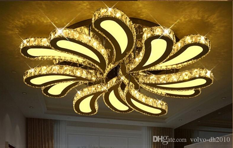 Plafoniere Led Moderne Design : New design led crystal ceiling lights for living room lustre