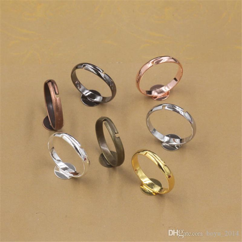 BoYuTe Plated Round 6 MM 8MM 10MM Cabochon Base Ring Setting Diy Adjustable Ring Base Jewelry Findings Components
