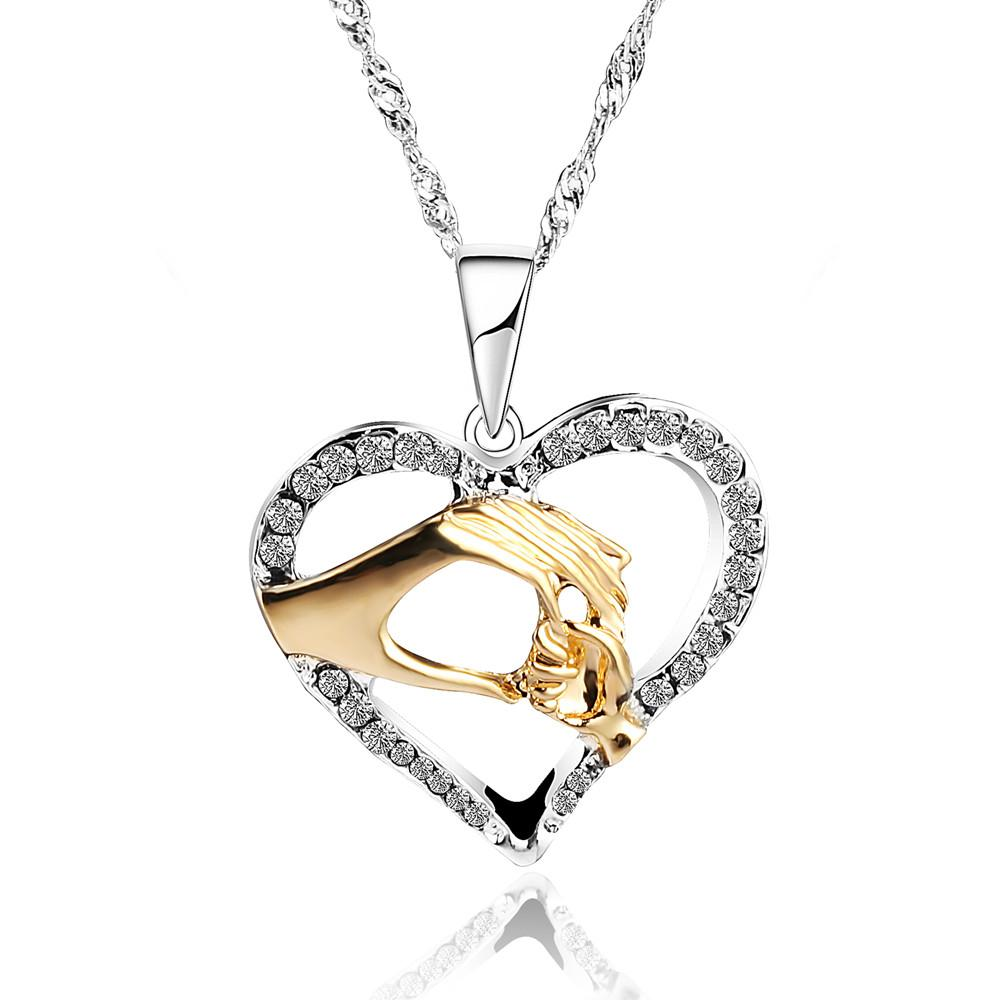 2018 Mother Baby Heart Pendant Mom Daughter Son Child Family Love Cubic Zirconia Necklace Moms Jewelry Birthday Gift From Udon 603