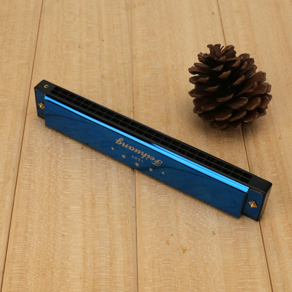 Blue Metal Harmonica Mouth Organ 24 Double Holes with 48 Reeds Key of C Melodica With Box Woodwind Instrument