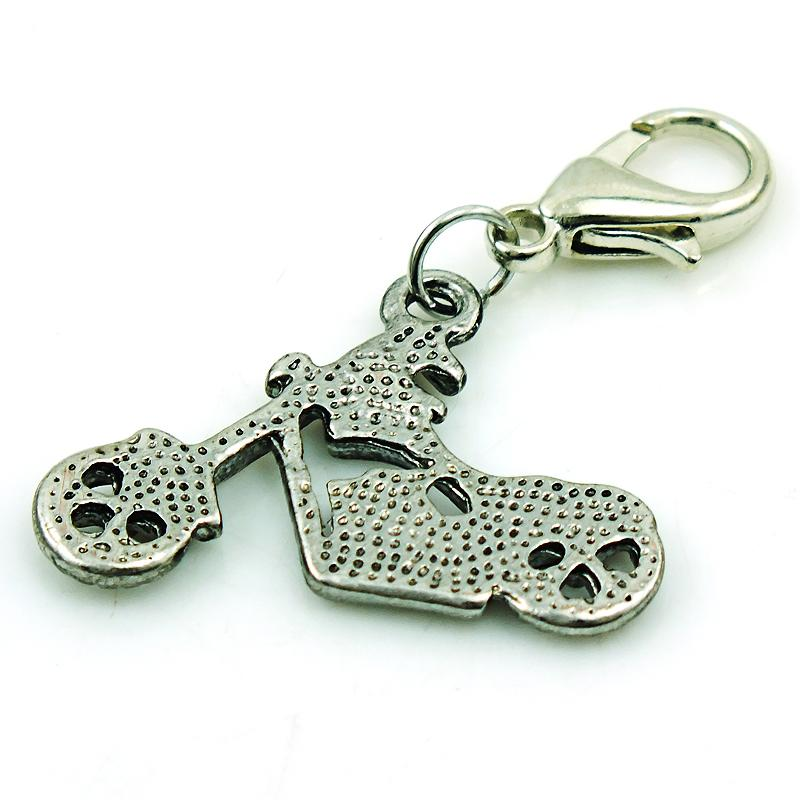 JINGLANG Charms With Lobster Clasp Dangle Retro Alloy Motorcycle Pendants DIY Charms For Jewelry Making Accessories