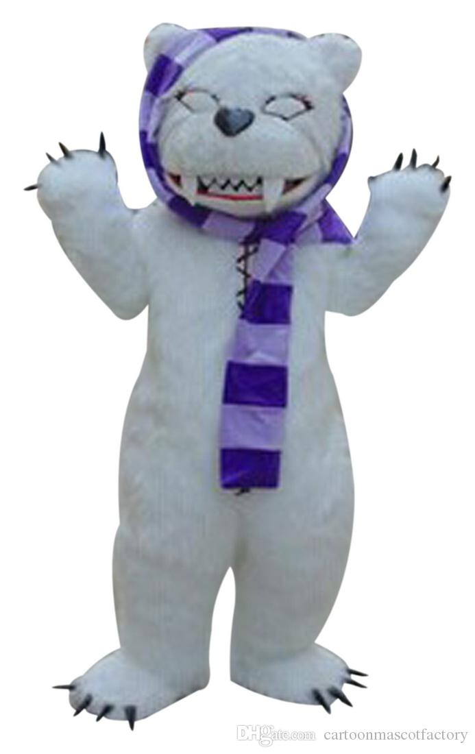 White beggar bear Mascot Costumes Cartoon Character Adult Sz 100% Real Picture 001