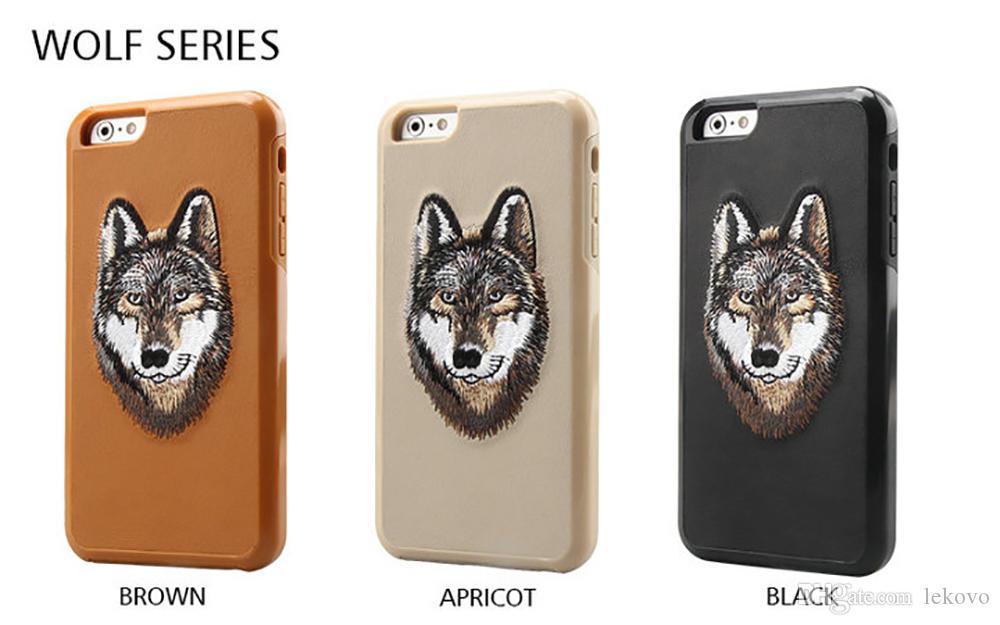 El nuevo caso para el iPhone iPhone7 i7plus 6s bordado animal Teléfono Dos-en-Uno también Caja protectora de Samsung S8plus con el envío libre al por menor Bolsa