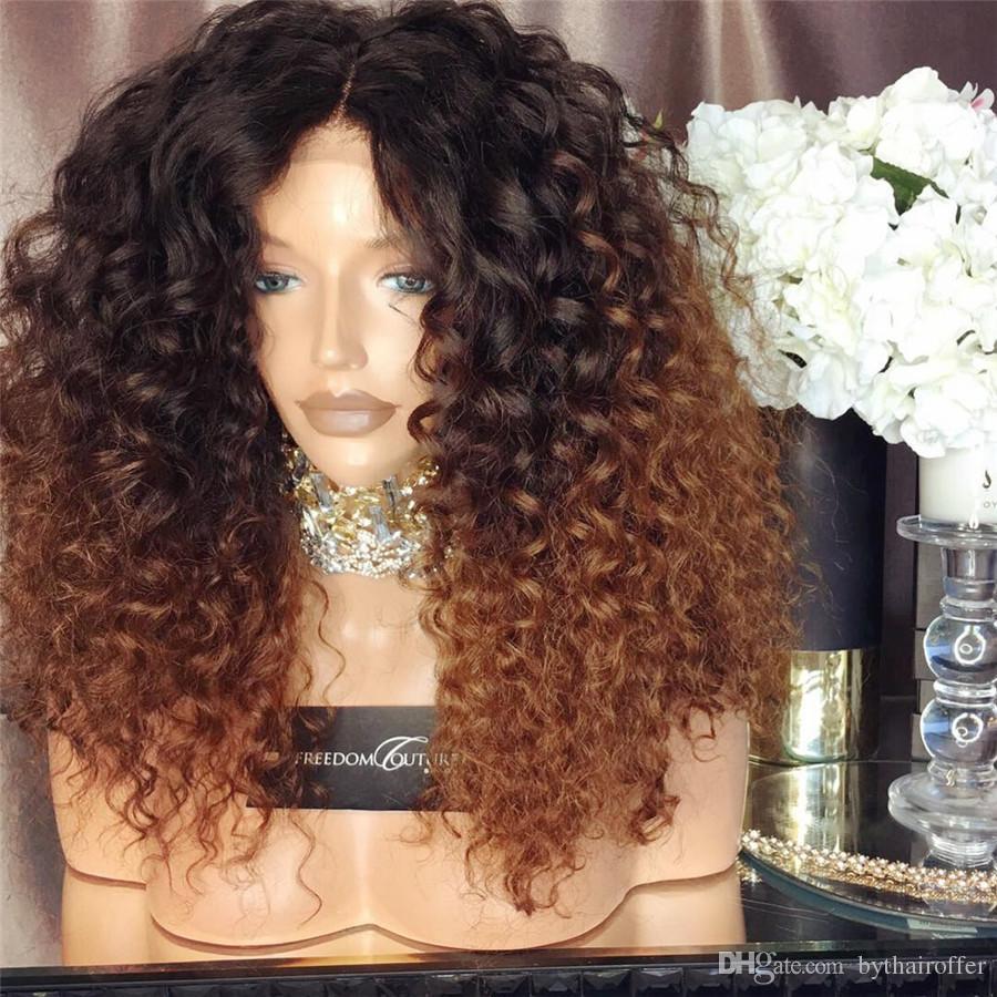 Bashair-Virgin Brasilianische Human-Haar-Perücken Ombre-Farbe # 1b / # 30 verworrene lockige volle Spitze-Perücken 150% Dichte-Spitze-Front-Perücken für schwarze Frau