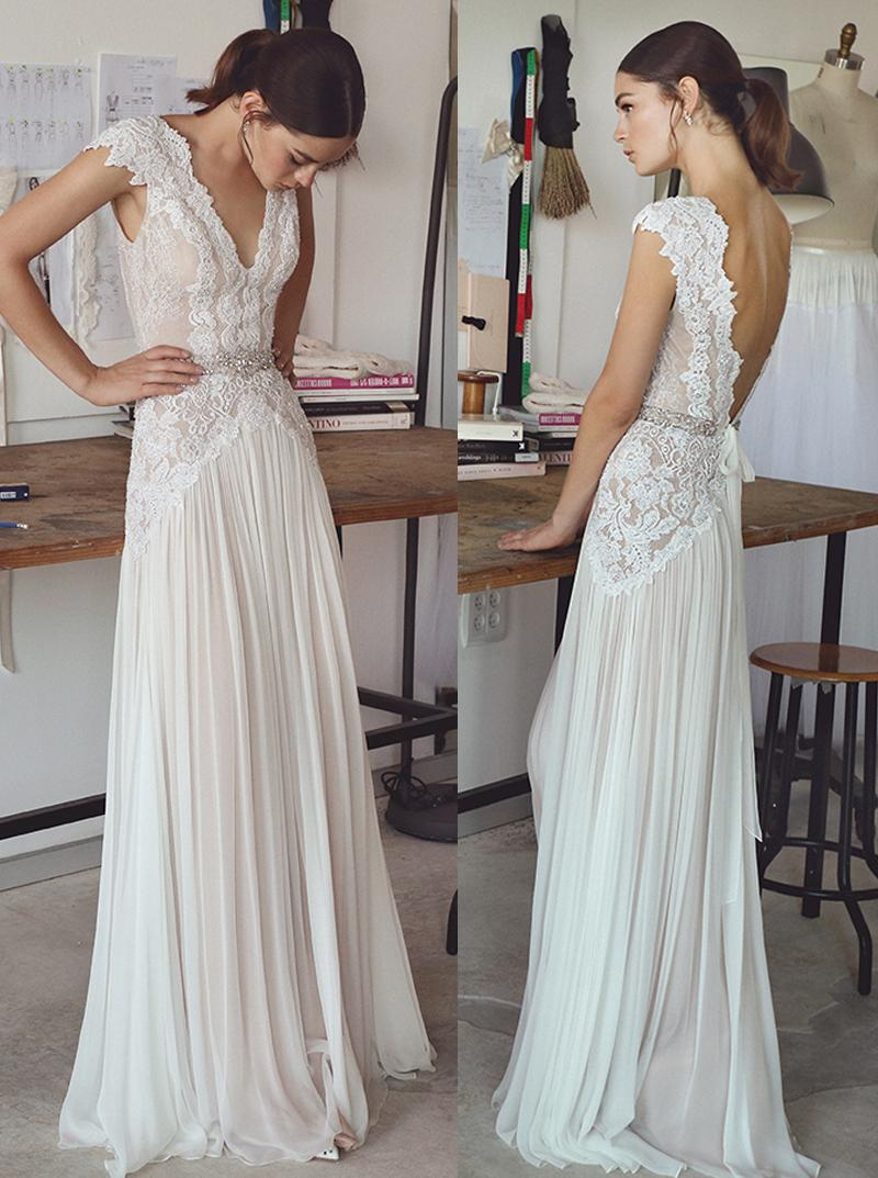 Vintage lace beaded wedding dresses 2017 simple a line v for Vintage beaded lace wedding dress
