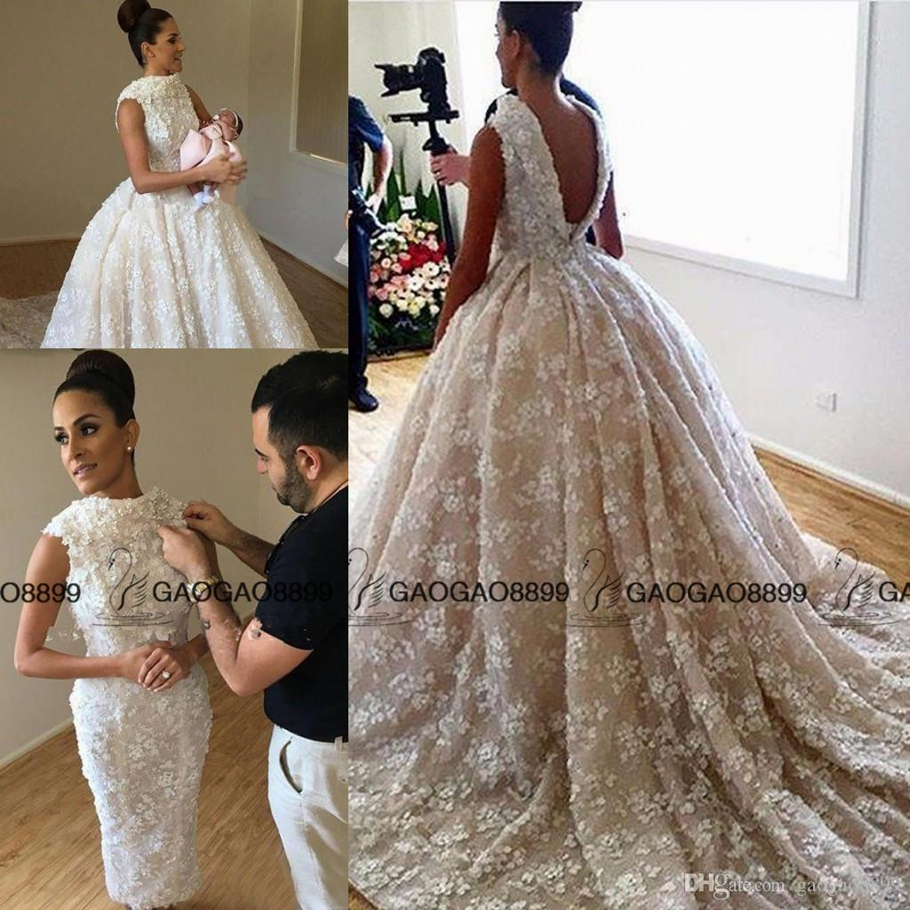 Discount 3d Floral Applique Luxurious Two Pieces Ball Gown Wedding ...