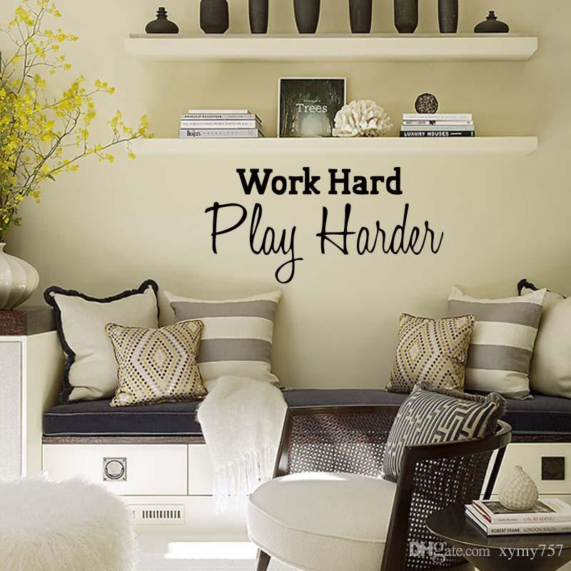 For Work Hard Play Harder Home Office Quotes Personality Wall Stickers Drawing Room Art Decals Vinyl Decoration