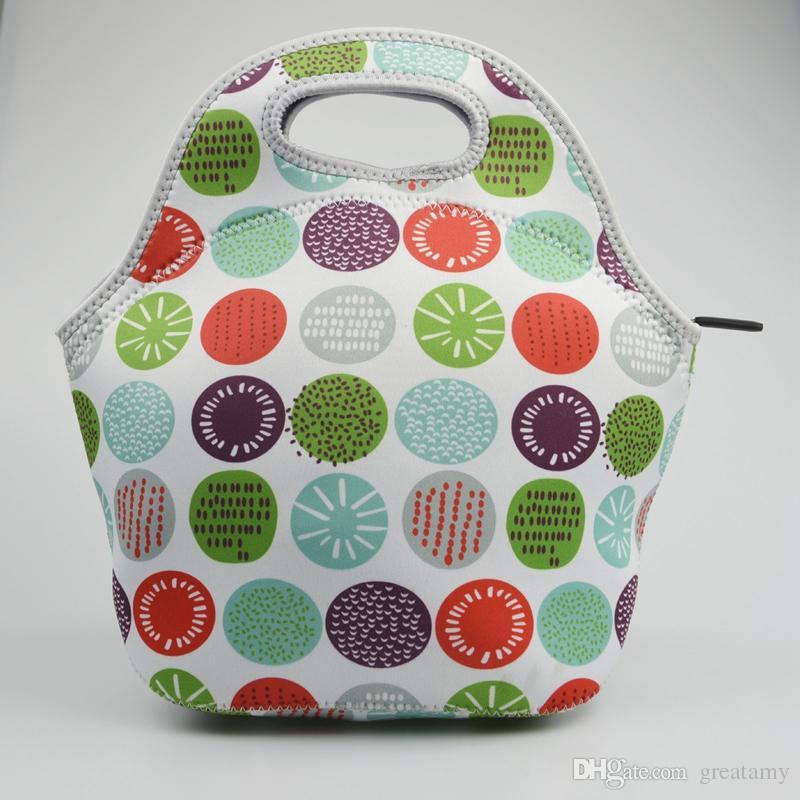 dzieci torby na lunch 8 style słońce kolorowe kropki piłka drukowane dzieci torby przekąski dziewczyny chłopcy pakiety żywności dobrej jakości dzieci poza torebki