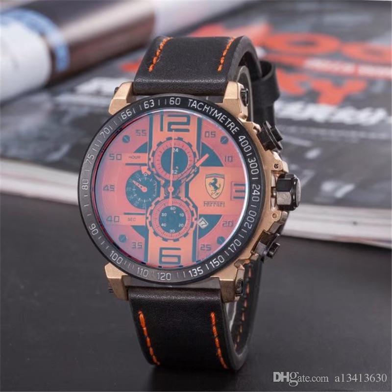 Italy brand sports car F1 Sports watch 3 eye 6 needle high quality brand watch quartz Mechanical Run seconds Movement Men's watches relojes