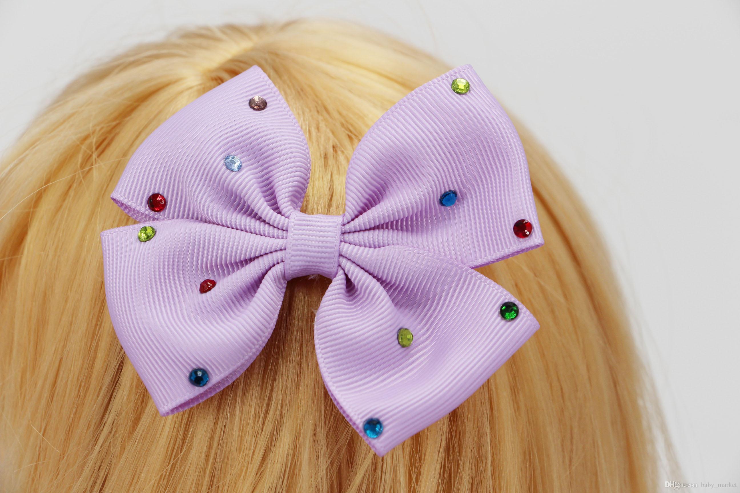 4 stil mevcut! 3.5 inç bebek kız bebek hairband saç yaylar bantlar renk rhinestone saç darbe klip 120 adet /