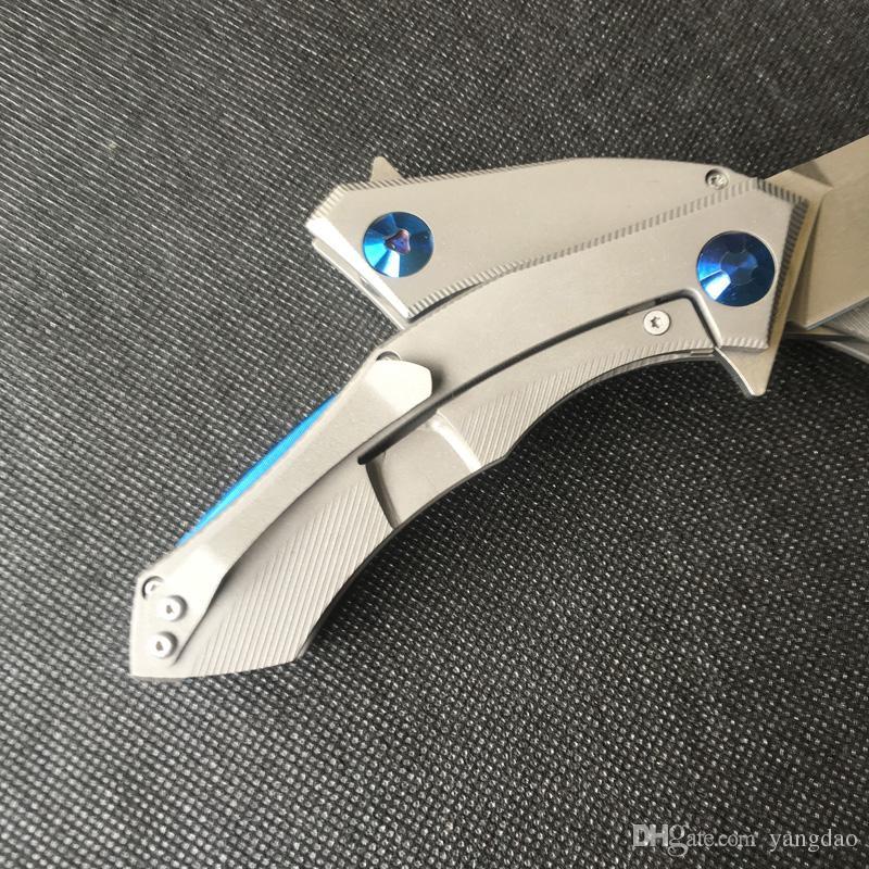 Envío libre, Shirogorov poluchetkiy Nuevo cuchillo plegable de la arandela del cojinete de rollo Jabalí hecho del acero D2 con la manija de titanio, Venta al por mayor, al por menor