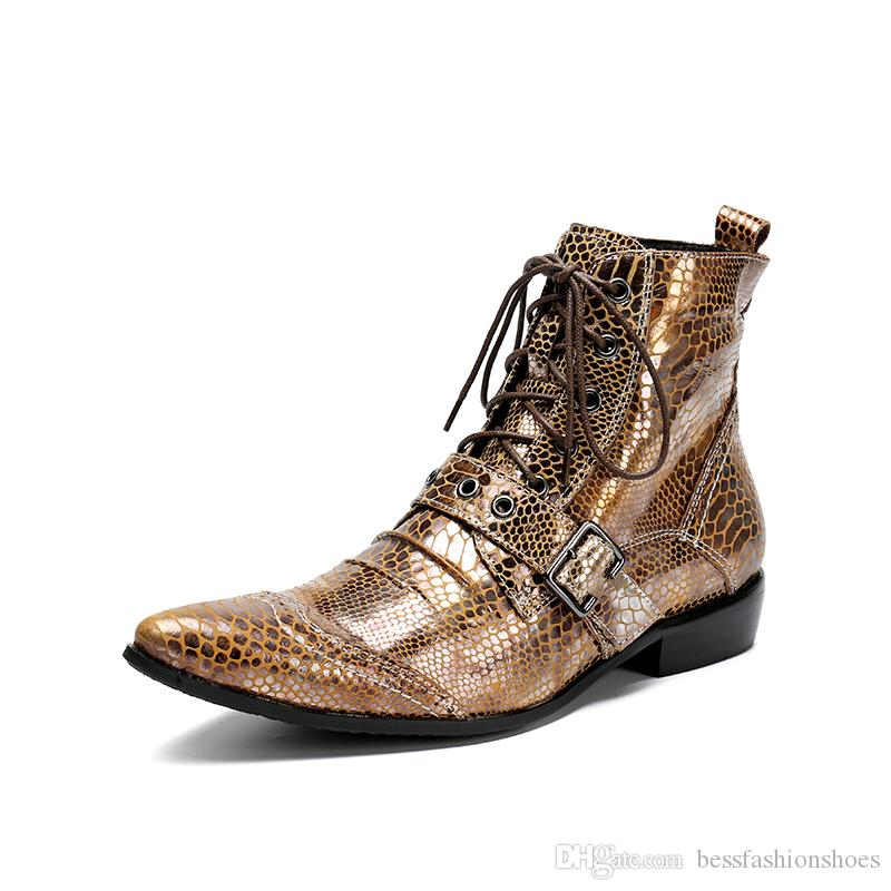 Hot Sale Men Genuine Leather Motocrycle Boots 2017 New Fashion Brand Metal Buckle Pointed Toe Mens Wedding Dress Shoes High Top Runway Shoes