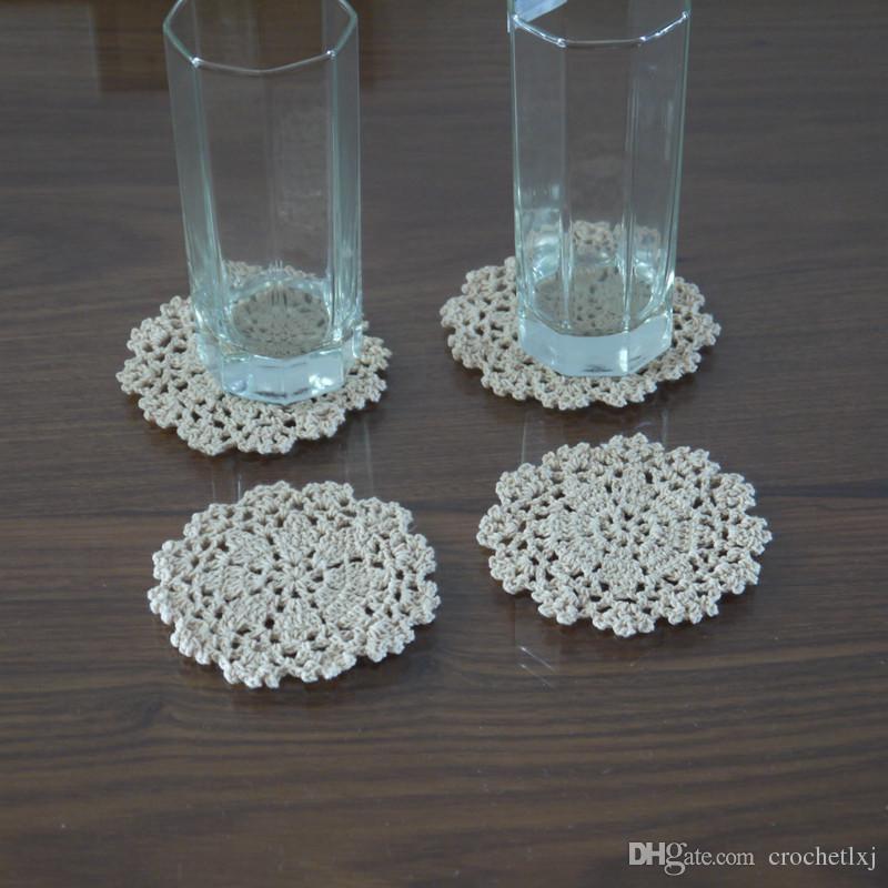 Ücretsiz kargo tığ Doily masa örtüsü 10 cm El Yapımı Tığ Işi Çiçek pamuk Danteller kupası mat kupa ped 20 adet / grup