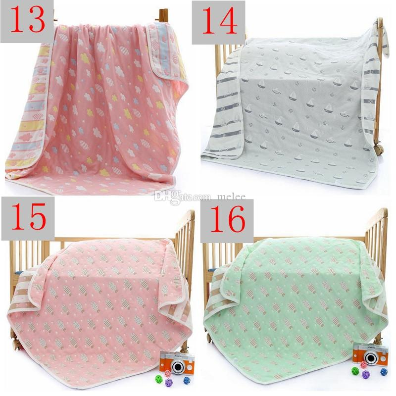 INS Xmas Newborn 6 Layers Infant Cartoon Play Mat Baby Swaddle Blanket Winter Baby Blankets Cotton Baby Bedding Newborn Receiving Blanket