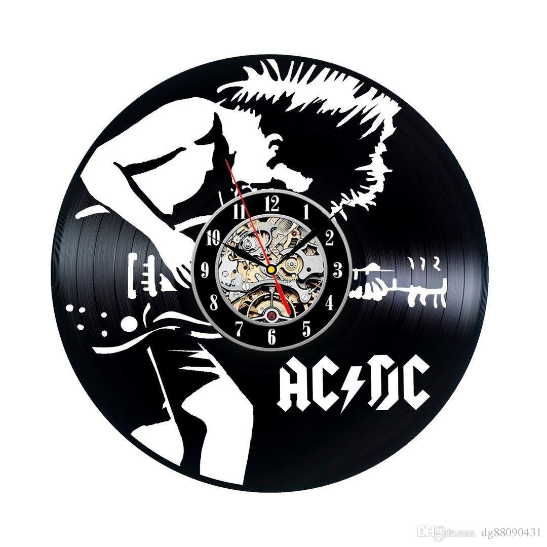 Acdc Vinyl Wall Clock Art Gift Room Modern Home Record Vintage Decoration  Party Decoration Halloween And Christmas Decorations Extra Large Outdoor  Wall ...