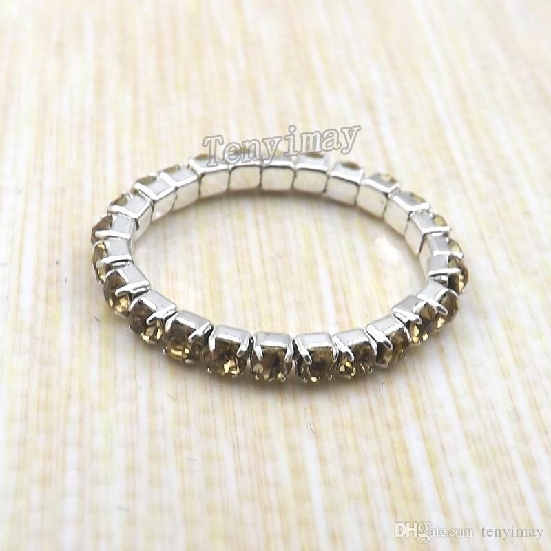 패션 탄성 크리스탈 반지는 의 소녀 Stretchy 크리스탈 반지 팩을위한 믹스 컬러 무료 배송