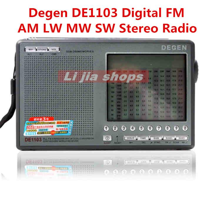 Wholesale-In stock,10pcs/lot 2015 new Degen DE1103 Digital FM AM LW MW SW Stereo Radio (English and Russian language can choose)