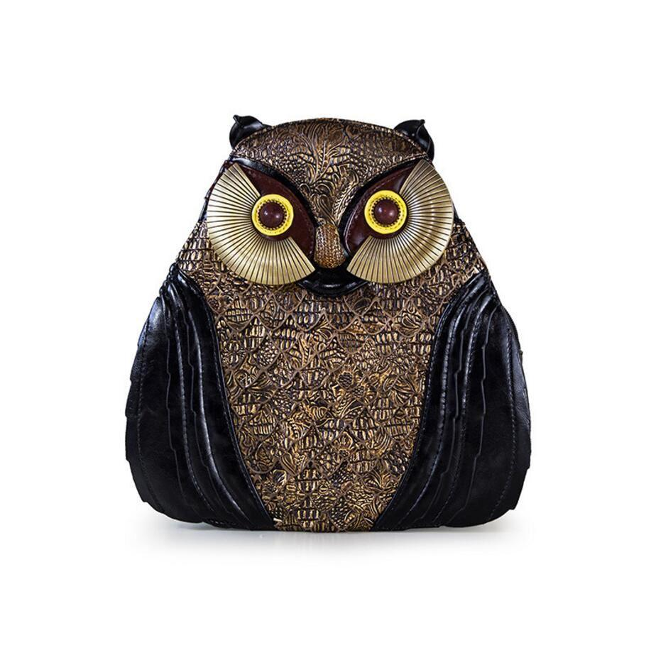 2017 new Fashion Women Handmade Owls Leather Backpacks for Teenage Girls Female Backpacks Casual Bags Female Shoulder Bags