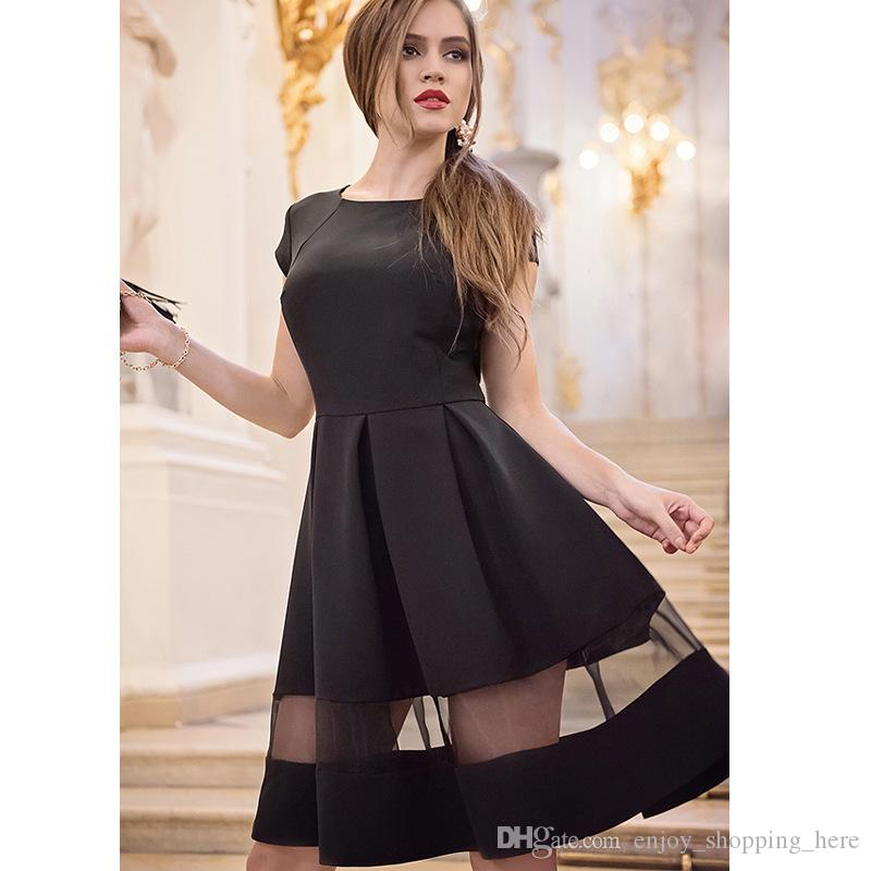 Olivia Palermo Elegantes Vestidos Negros Jacquard De Manga Larga Vintage Hoppen Estilo O Cuello Vestidos De Bola Hilados Net Delgado Midi Vestidos