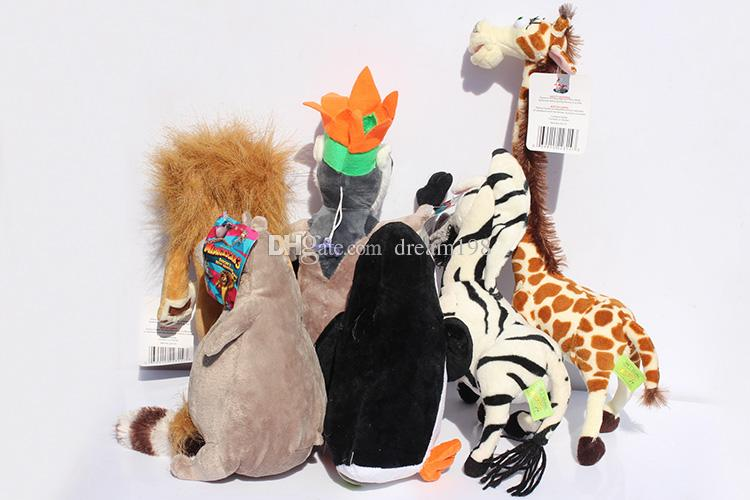 NEW Madagascar Plush Toys Madagascar Lion Giraffe Penguin Zebra Hippo Cute Gift for Kids Boys / Size : 25-30cm