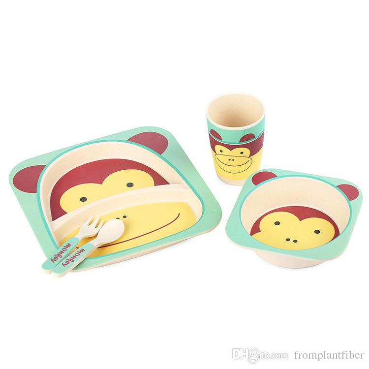 Bowls & Plates Bamboo Eco Baby Bowl Spoon Fork Set Monkey Feeding