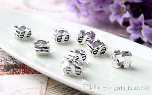 European Silver Plated Big Hole Charms Loose Beads Fit Pandora Bracelets 925 Jewelry Dollar Mark for Sale Girls Mom Jewelry Making DIY