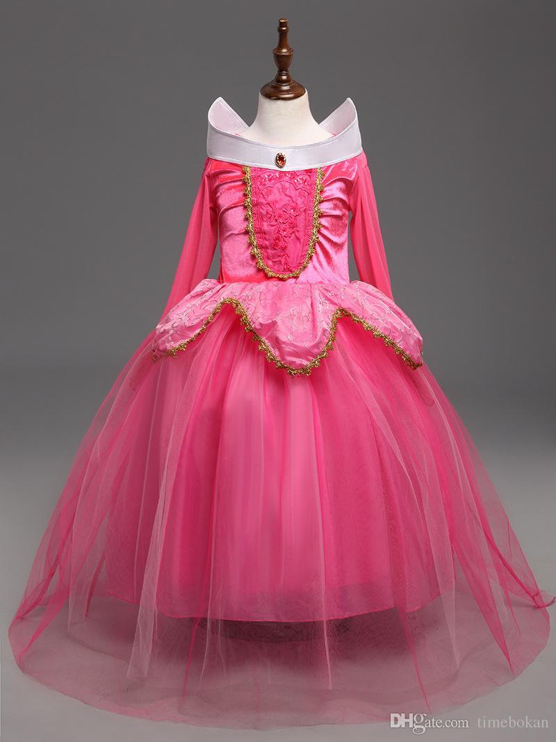 Halloween Cosplay Girls Dress Cinderella Dresses Children Sleeping Beauty Princess Dress Rapunzel Aurora Frozen Kids Party Costume Clothing
