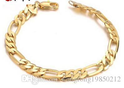 18 K Gold Jewelry Personality Man Cool Bracelet Long Lasting Color