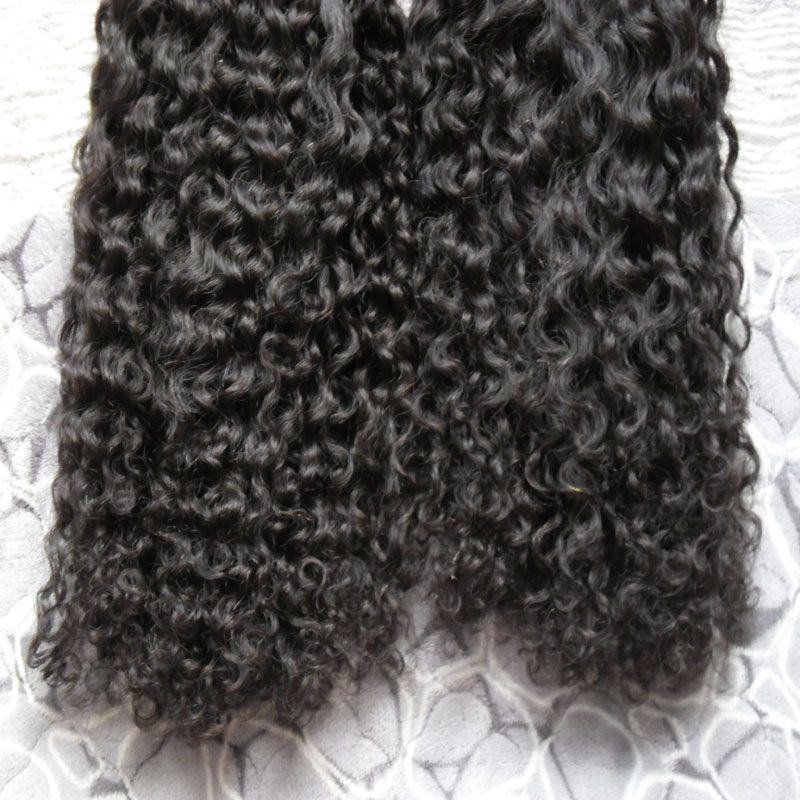 Afro-verworrene lockige Micro-Ring-Schleife Haarverlängerungen 1g Virgin Remy indische lockige Haare 200g natürliche Farbe menschliches Haar Erweiterungen