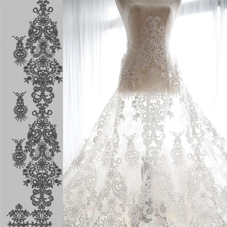 compre blanco francés vintage tela de encaje bordado vestido de