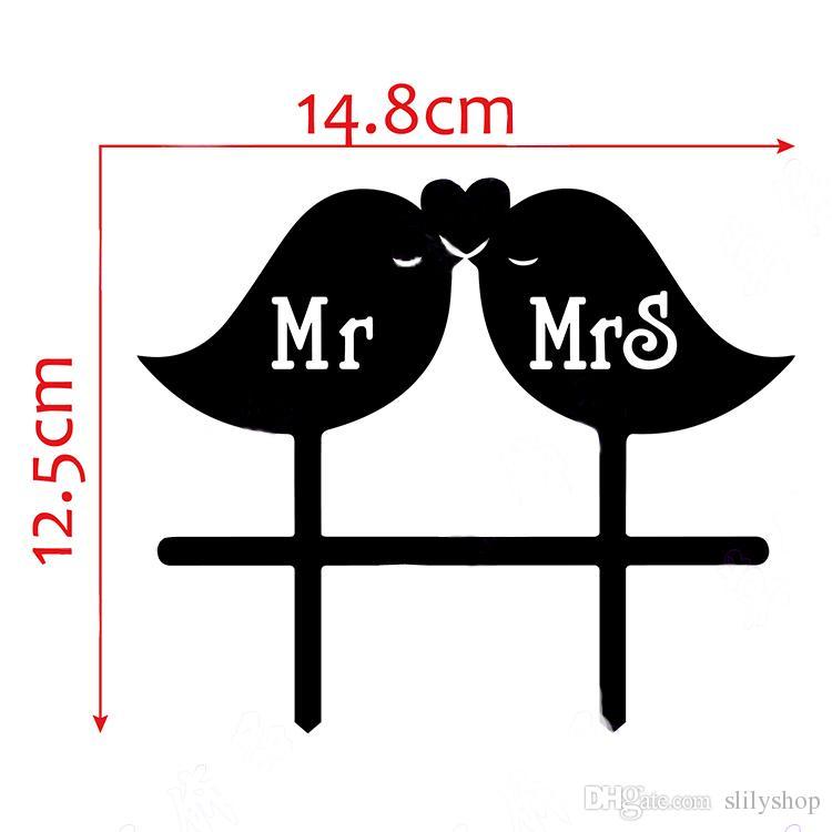 Wedding Cake Topper Mr & Mrs Acrylic Cute Birds Romantic Wedding Decoration Cake Accessory